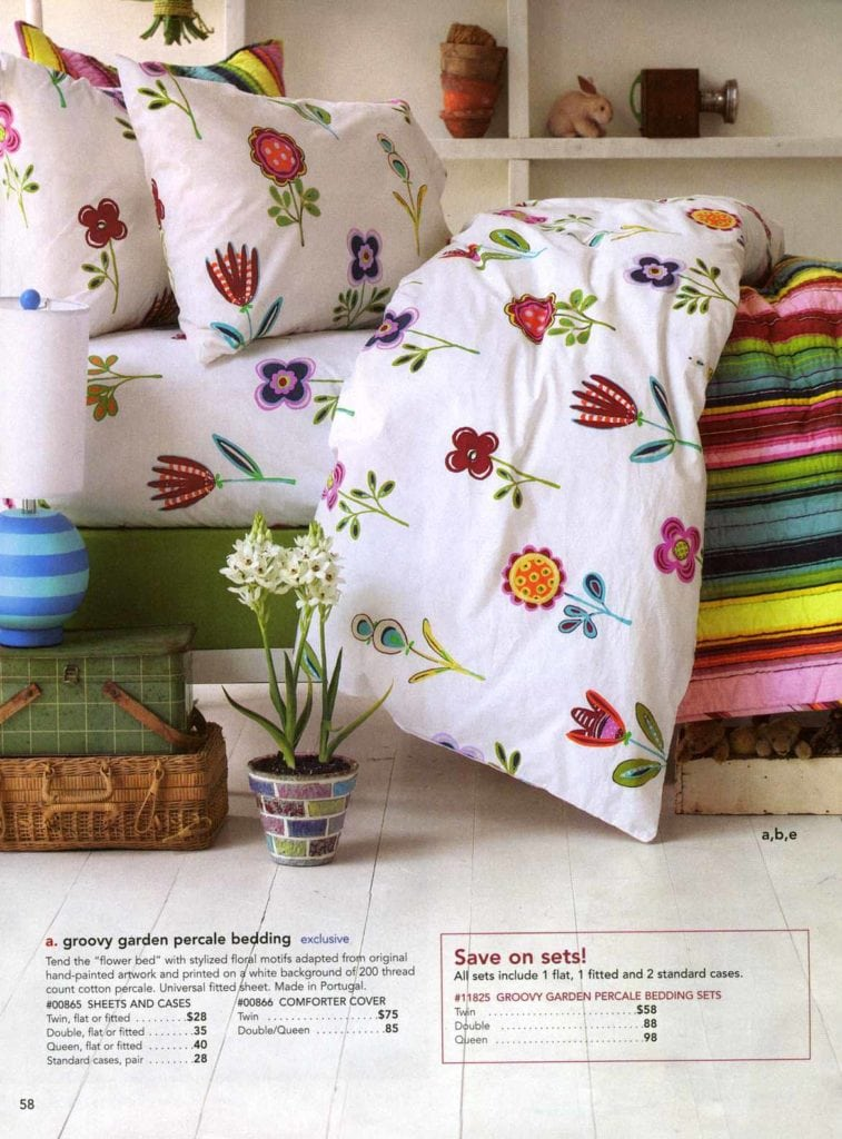 Groovy garden percale bedding